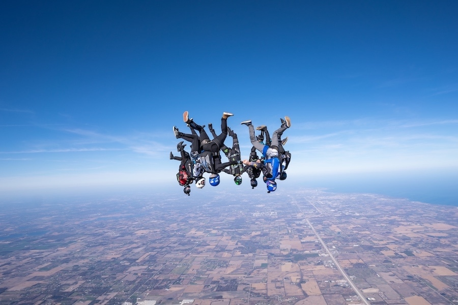 Group Formation Head Down Skydive Lake Michigan